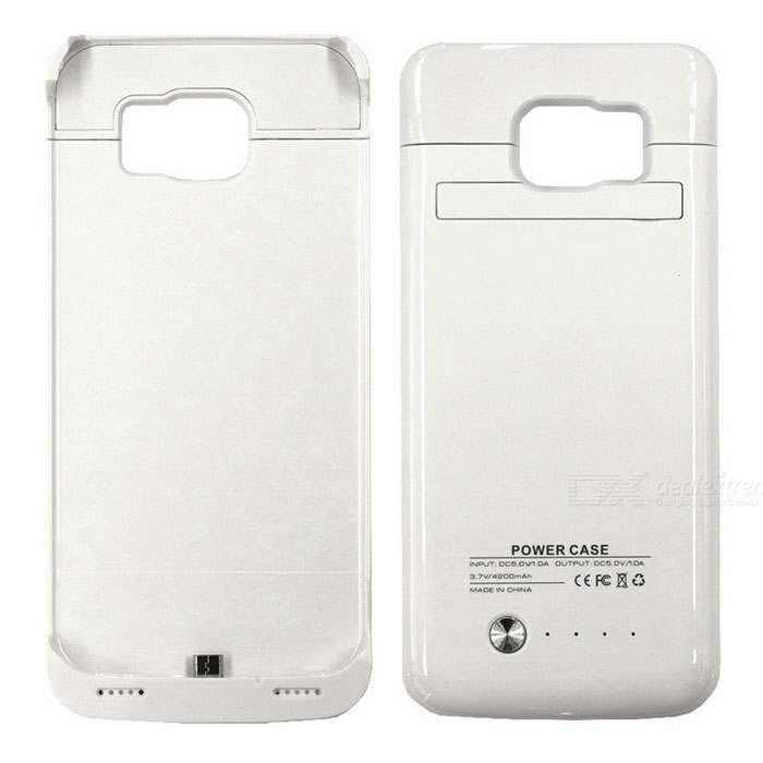 3.7V 4200mAh Li-polymer Battery Back Case for Samsung S6 Edge - White