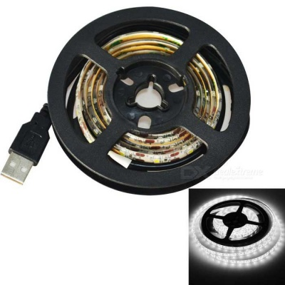 Jiawen USB 60-SMD 3528 Cold White 1m LED Strip Light - White