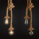 HESSION 2-Head Vintage Hemp Rope Handmade Ceiling Lamp Shade - Beige