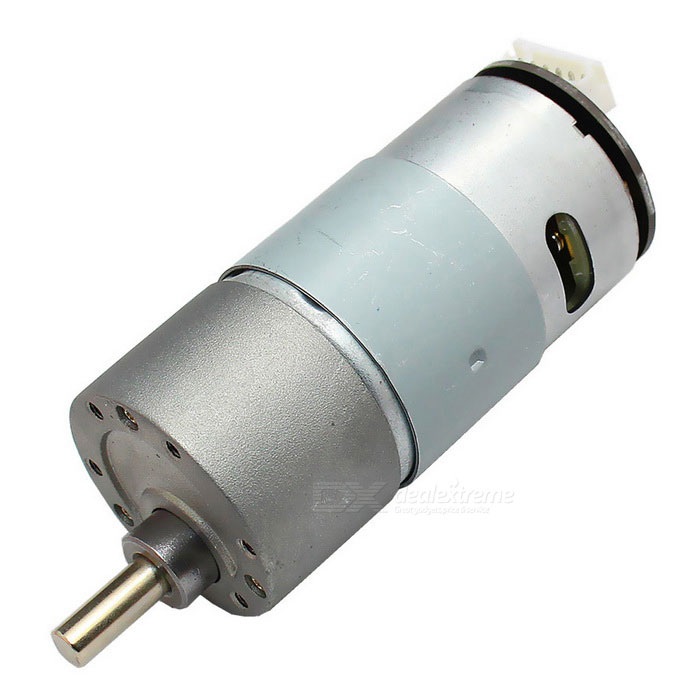 37mm DC 12.0V 190rpm Encoder Precision Gear Motor - Silver + GreyMotors<br>Form  ColorGrey + SilverModelGM37-30-21D+HLQuantity1 DX.PCM.Model.AttributeModel.UnitMaterialZinc alloy + steel + copper +ABS, etc.Rate Voltage12.0Power Range6.0~24.0VInput VoltageDC 12.0 DX.PCM.Model.AttributeModel.UnitRevolutions Per Minute (RPM)190RPMWorking Current1.5 DX.PCM.Model.AttributeModel.UnitWorking Temperature-20~+60 DX.PCM.Model.AttributeModel.UnitEnglish Manual / SpecNoDownload Link   NoCertificationNoOther FeaturesNoPacking List1 * Gear motor1 * Terminal connection cable (20cm)<br>