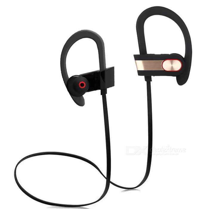 Q7 Sweatproof Noise Reduction Bluetooth Earphone - Black + GoldenHeadphones<br>Form  ColorBlack + Golden + Multi-ColoredBrandOthers,N/AModelQ7MaterialABS + PCQuantity1 DX.PCM.Model.AttributeModel.UnitShade Of ColorBlackSupport Apt-XYesChannels2.0Sensitivity96±3dBTHDFrequency Response20~20000HzImpedance32 DX.PCM.Model.AttributeModel.UnitBattery TypeLi-polymer batteryBuilt-in Battery Capacity 95 DX.PCM.Model.AttributeModel.UnitStandby Time250 DX.PCM.Model.AttributeModel.UnitTalk Time6 DX.PCM.Model.AttributeModel.UnitMusic Play Time8 hours DX.PCM.Model.AttributeModel.UnitPower AdapterUSBPower Supply5V 135AConnectionBluetoothBluetooth VersionBluetooth V4.1Operating Range10mConnects Two Phones SimultaneouslyYesCable Length65 DX.PCM.Model.AttributeModel.UnitLeft &amp; Right Cables TypeEqual LengthHeadphone StyleBilateral,Earbud,Ear-hookWaterproof LevelIPX4Applicable ProductsUniversalHeadphone FeaturesHiFi,Phone Control,Long Time Standby,Noise-Canceling,Volume Control,With Microphone,Lightweight,Portable,For Sports &amp; ExerciseSupports MusicYesRadio TunerNoSupport Memory CardNoPacking List1 * Sport Bluetooth Headphone 1 * USB Cable (5V 130mA)1 * User Manual 3 * Different size earbuds1 * Wire clip<br>