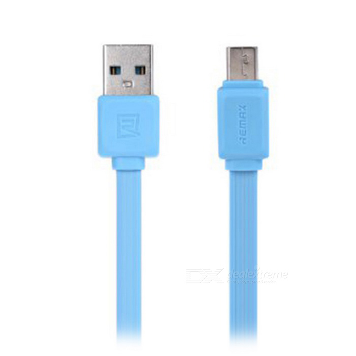 REMAX Micro USB Male to USB Male Data Charging Flat Cable - Blue (1m)