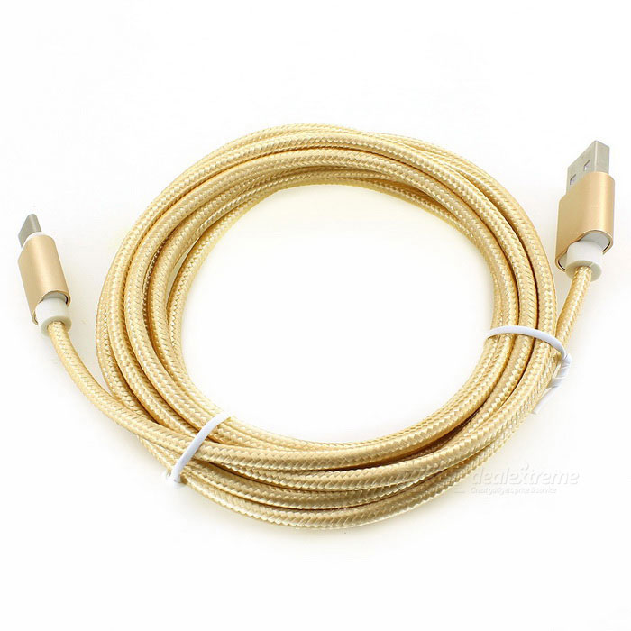 USB 3.1 Type-C to USB 2.0 Nylon Braided Data Cable - Gold (300cm)