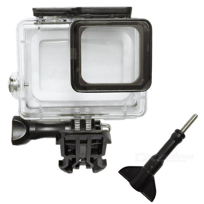 i405 30M Waterproof Housing Case for Gopro Hero 5 Camera - BlackBags &amp; Cases<br>Form  ColorTranslucent White + BlackModeli405Quantity1 DX.PCM.Model.AttributeModel.UnitMaterialPlastic shellShade Of ColorWhiteCompatible ModelsOthers,Gopro Hero 5Water ResistantWater Resistant 3 ATM or 30 m. Suitable for everyday use. Splash/rain resistant. Not suitable for showering, bathing, swimming, snorkelling, water related work and fishing.SizeSDimension8 * 6.5 * 4 DX.PCM.Model.AttributeModel.UnitInner Dimension6.7 * 4.5 * 2.8Packing List1 * Case2 * Screws1 * Buckle basic mount<br>
