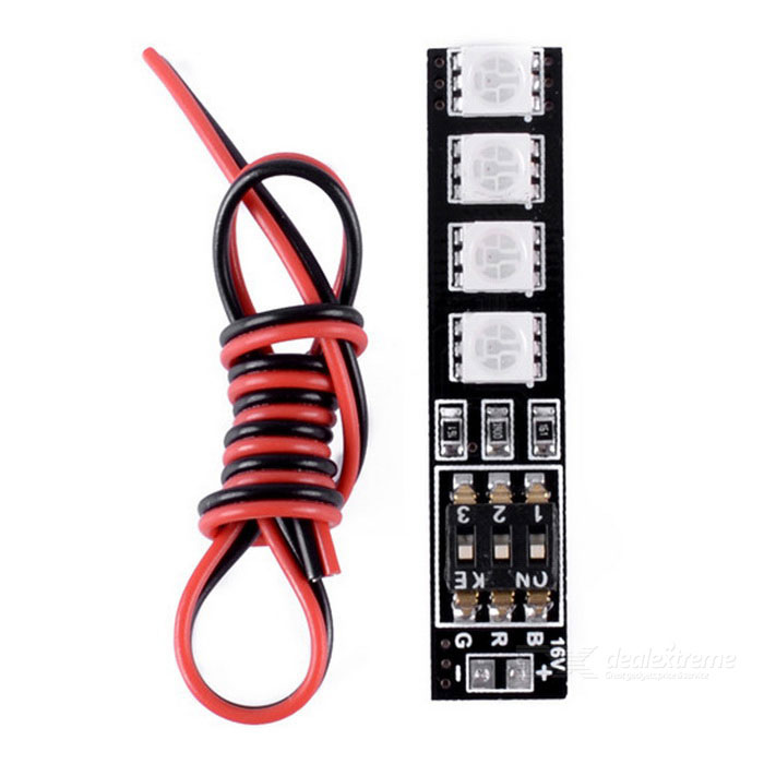 RGB5050 Switch 16V 7 Colors 4-5050 LED-valot Board - Musta