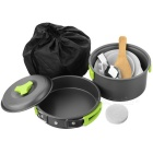 AoTu AT6385 Outdoor Picnic Cooking Pan / Pot Set - Black + Green