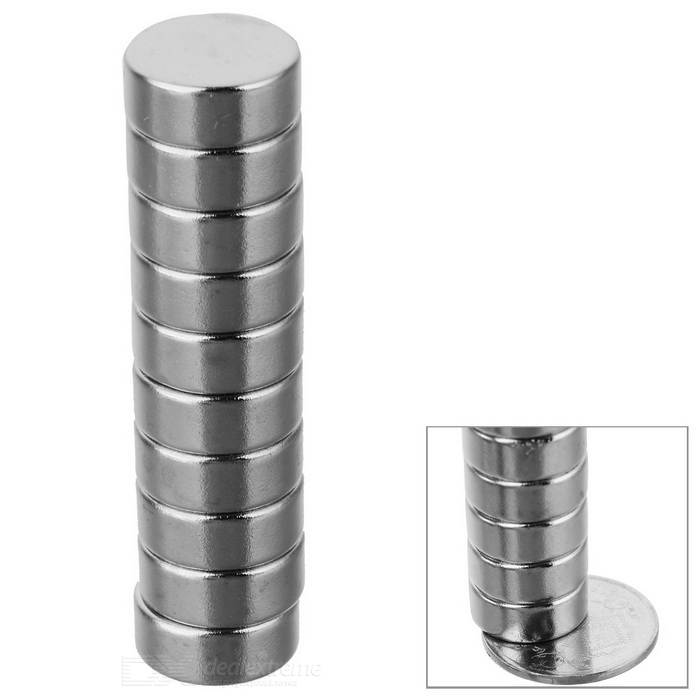 D12 * 6mm Cylindrical Strong NdFeB Magnet - Silvery White (10 PCS)