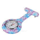 Porcelain Pattern Silicone Band Quartz Clip-on Watch - White + Pink