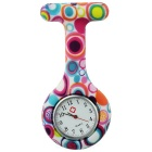 Rainbow Pattern Silicone Band Quartz Clip-on Watch - Colorful + Pink