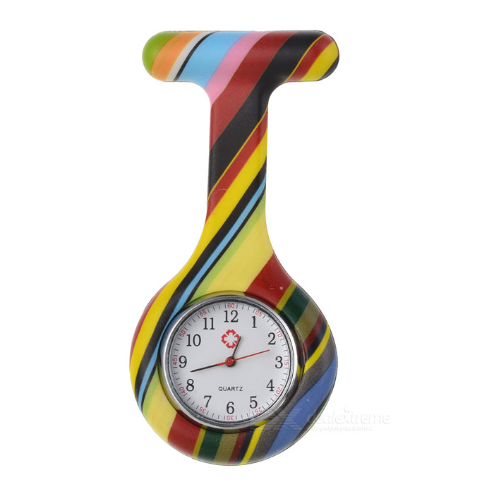 Stripe Pattern Silicone Band Quartz Clip-on Watch - Black + Multicolor