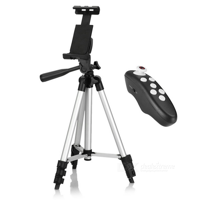 Cwxuan Retractable Tripod Mount Holder w/ Bluetooth Control - Silver