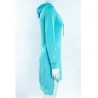Fashion Irregular Spandex Long-Sleeved Hooded Dress - Blue (L)