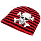 Stripe / Skull Pattern Casual Knitted Fabric Hat - Red + White