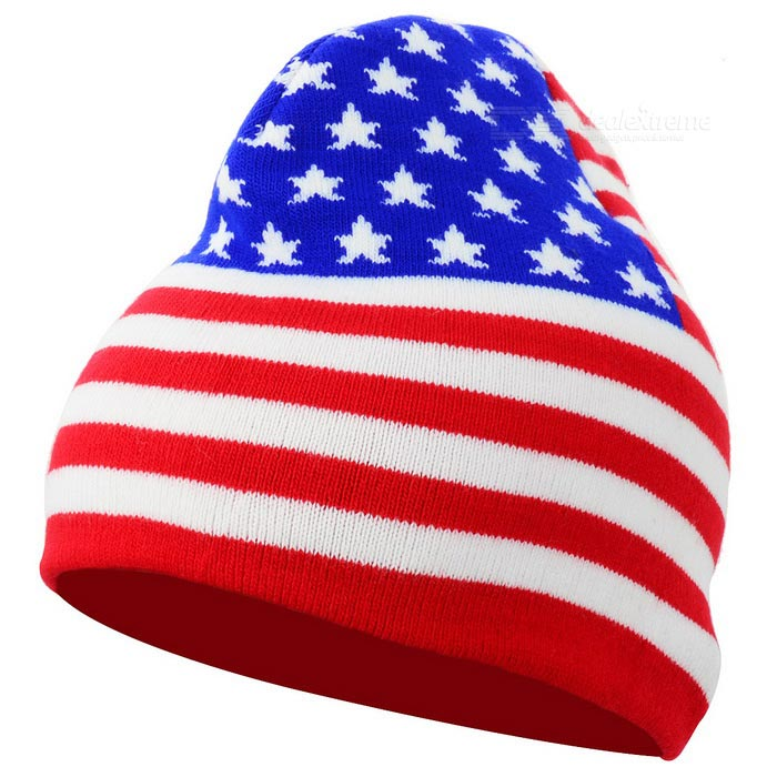 American Flag Pattern Casual Knitted Fabric Hat - Red + Blue