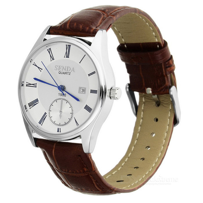 Waterproof Leather Strap Quartz Watch w/ Calendar Fucntion - BrownQuartz Watches<br>Form  ColorBrownModelSD-02Quantity1 DX.PCM.Model.AttributeModel.UnitShade Of ColorBrownCasing MaterialAlloyWristband MaterialLeather strap / CasualSuitable forAdultsGenderUnisexStyleWrist WatchTypeCasual watchesDisplayAnalogBacklightYes / BlueMovementQuartzDisplay Format12 hour formatWater ResistantWater Resistant 3 ATM or 30 m. Suitable for everyday use. Splash/rain resistant. Not suitable for showering, bathing, swimming, snorkelling, water related work and fishing.Dial Diameter3.5 DX.PCM.Model.AttributeModel.UnitDial Thickness0.8 DX.PCM.Model.AttributeModel.UnitWristband Length24 DX.PCM.Model.AttributeModel.UnitBand Width2.0 DX.PCM.Model.AttributeModel.UnitBattery1 * SR626SWPacking List1 * Quartz watch1 * Exquisite paper box<br>