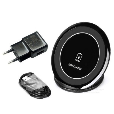 Qi Standard Wireless Charger Support Fast Charge - Black (EU Plug)