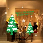 Removable DIY 3D Christmas Tree Decor Wall Sticker Set - Green +White