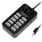 USB 2.0 10-Port HUB w/ 480Mbps High Speed Transmission (95cm) - Black