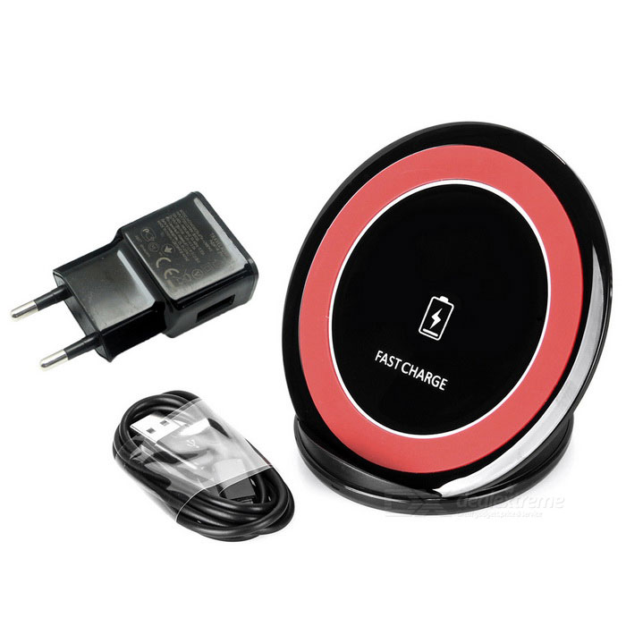 Vertical Wireless Charger for Samsung GALAXY - Black + Red (EU Plug)