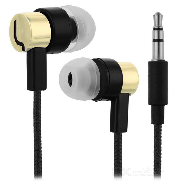 Universal HIFI 3.5mm Super Bass Sound In-ear Earphone - Golden