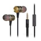 HIFI Super Bass 3.5mm In-ear Earphone w/ Mic - Black + Golden