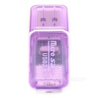 USB 2.0 Mini  Micro SD Card Reader for Computer - Light Purple