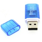 USB 2.0 Mini  Micro SD Card Reader for Computer - Blue
