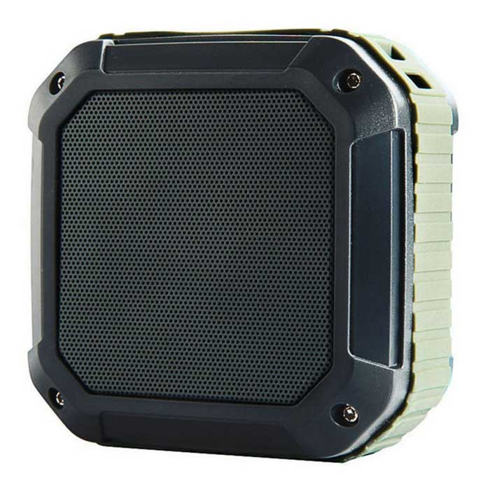 Outdoor Portable Waterproof Shockproof Bluetooth SpeakerBluetooth Speakers<br>Form  ColorArmy Green + Deep GreyMaterialTPU + ABSQuantity1 DX.PCM.Model.AttributeModel.UnitShade Of ColorGreenBluetooth HandsfreeYesBluetooth VersionBluetooth V2.1Operating Range10MTotal Power3 DX.PCM.Model.AttributeModel.UnitChannels2.0Interface3.5mm,USB 2.0MicrophoneYesSNR92dBSensitivity95dBFrequency Response90Hz - 20KHzImpedance4 DX.PCM.Model.AttributeModel.UnitApplicable ProductsIPHONE 5,IPHONE 4,IPHONE 4S,IPHONE 3G,IPHONE 3GS,Universal,Cellphone,Tablet PC,IPHONE 5S,IPHONE 5CRadio TunerNoBuilt-in Battery Capacity 400 DX.PCM.Model.AttributeModel.UnitBattery TypeLi-polymer batteryTalk Time2 DX.PCM.Model.AttributeModel.UnitStandby Time100 DX.PCM.Model.AttributeModel.UnitMusic Play Time4 HourPower AdapterUSBPower Supply3.7V 1APacking List1 * Mini speaker1 * Micro USB cable (3.7V 1A)1 * AUX cable1 * Strap<br>