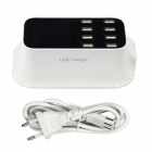 40W 100-240V 8A 8-Port USB Smart Charger w/ Display Screen (EU Plug)