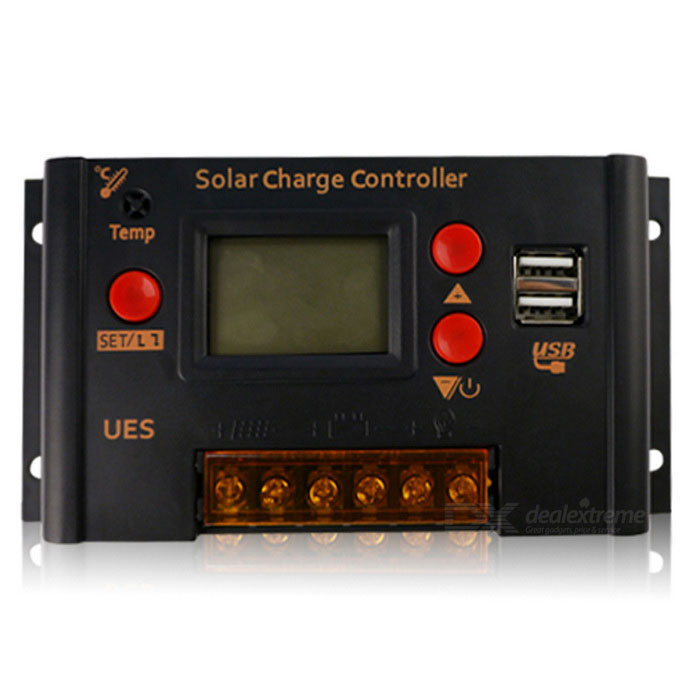 UES-2410 PWM Solar Charge Controller LCD Display 10A 12V 24V Auto Work