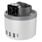 4-USB + 1-Type C laddningsdocka station för telefoner Apple Watch - vit