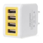 EU Plug DC 5V 3.1A USB 4-Port Charging Adapter - White + Yellow