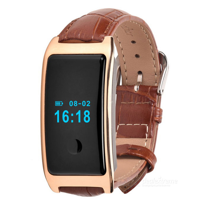 Smart Bracelet Heart Rate Monitor Bracelet w/ Pedometer - Gold + Brown