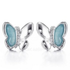 Real 925 Sterling Silver Blue Stone Decorated Earrings Fine Jewelry for Women 2016 New