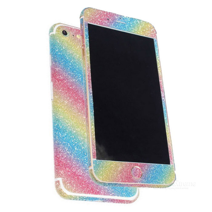 Glitter Shiny Back + Side + Home Stickers for IPHONE 7 - Multicolor