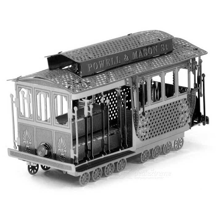DIY 3D Puzzle Assemble Tram Model Stainless Steel Toy - Silver