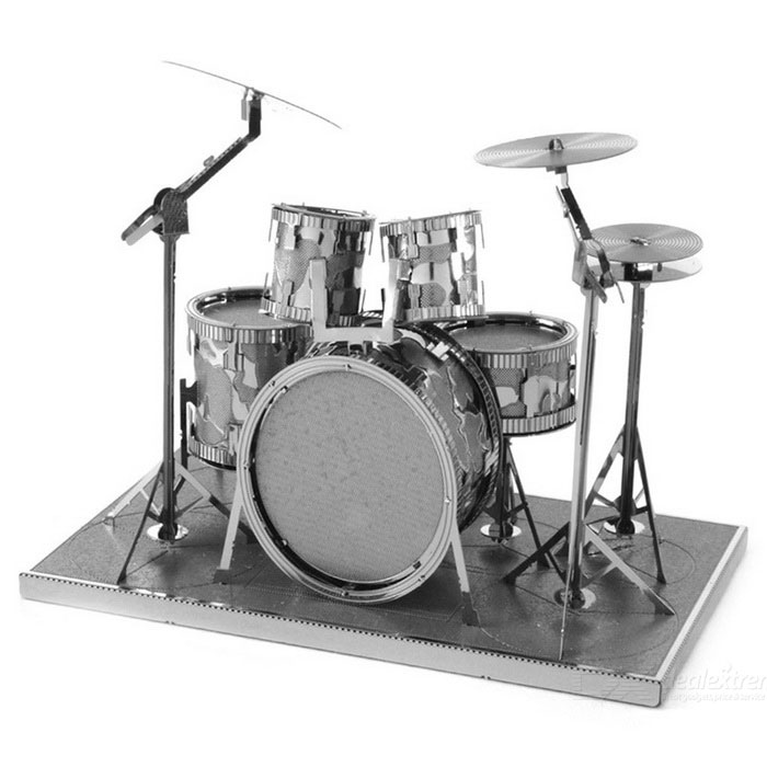 DIY 3D Puzzle Assembly Shelf Drum Model Educational Toy - Silver