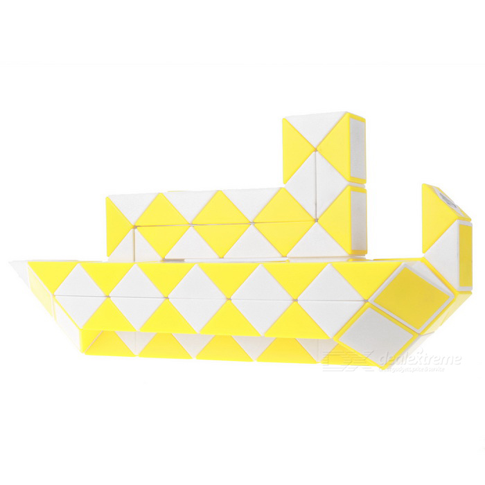 96 Blocks Magic Ruler Cubes Puzzle Cube Big Ship Toy - White + Yellow