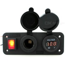 IZTOSS Waterproof Cigarette Lighter Power Sockets + Red Voltmeter