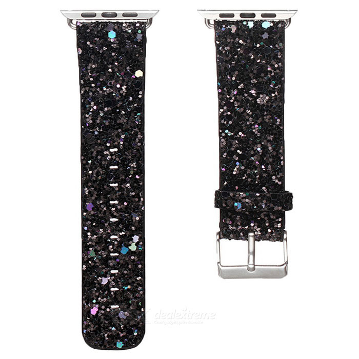 Glitter Flashing Style Leather Watchband for APPLE WATCH 42mm - Blue