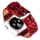 Glitter Flashing Style Leather Watchband for APPLE WATCH 38mm - Red