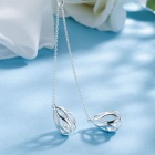 SILVERAGE Sterling Silver Morning Dew Style Pendant Long Necklace