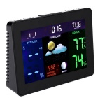 "Multi-functional 7"" LCD Wireless Weather Station Alarm Clock - Black"