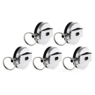 EDCGEAR 2001 Retractable Badge Reel Key Ring Keychain- Silver (5 PCS)