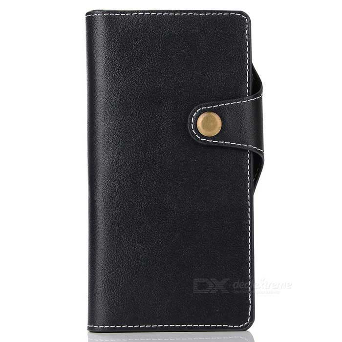 Cow Split Leather Case w/ Card Slots for Sony Xperia XZ - Deep Blue