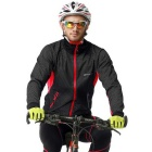 NUCKILY Men's Cycling Long Sleeve Fleece Jersey Set - Red + Black (L)