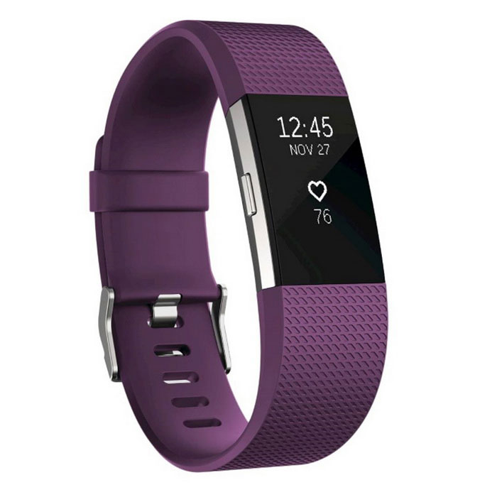 Fitbit Charge2 Heart Rate + Fitness Wristband, Plum, Large