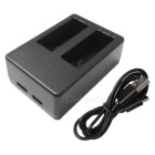 Ismartdigi 501 Dual Slot Battery USB Charger for Gopro 5 - Black