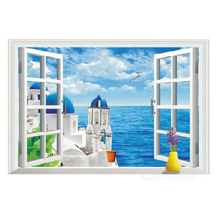 Removable DIY 3D Landscape PVC Wall Sticker - Blue + MulticolorWall Sticker <br>Form  ColorBlue + WhiteShade Of ColorBlueMaterialPVCQuantity1 DX.PCM.Model.AttributeModel.UnitStyleContemporaryDimension57 * 85 DX.PCM.Model.AttributeModel.UnitPacking List1 * Wall Sticker<br>