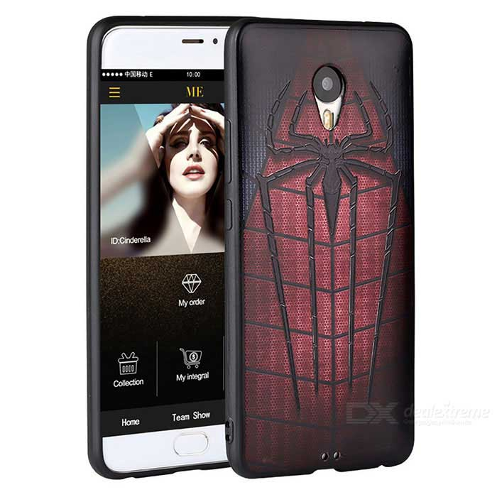 3D HD Three Dimensional Embossed Case for Meizu MX6 -Black (Spiderman)